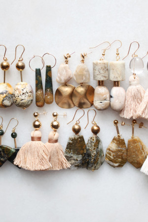 Ocean Jasper Moonstone and Marble Earrings by The Vamoose