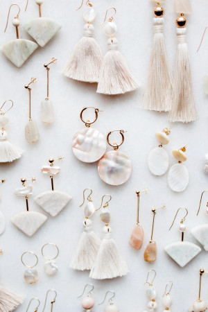 Pearl Marble and Shell Earrings by The Vamoose